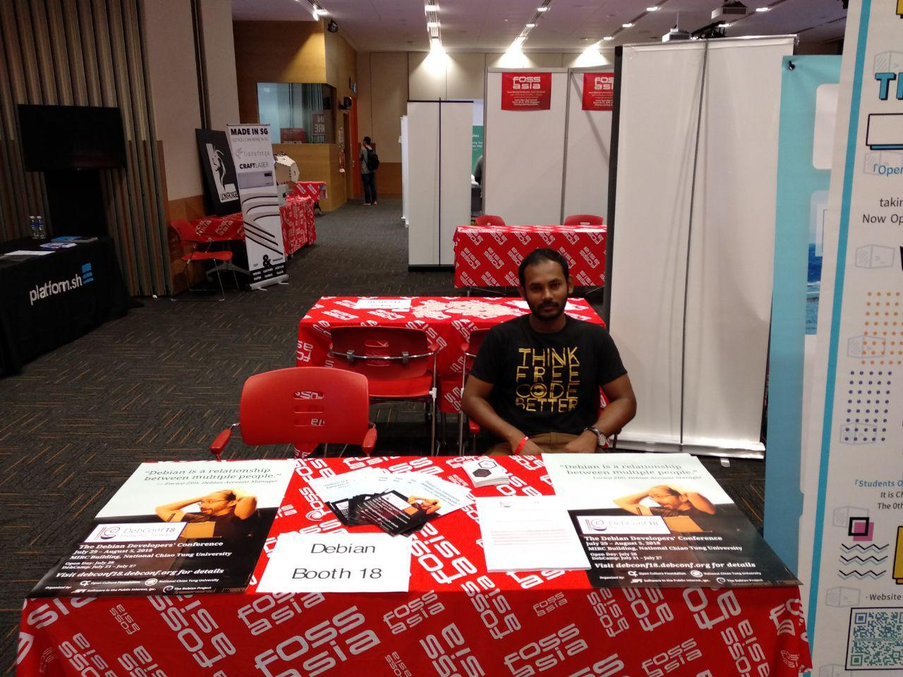 Abhijith in Debian Booth